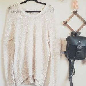 Altar'd State V-Neck Popcorn Sweater in Cream